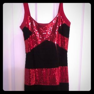 Red Sequin Mini Halter Dress